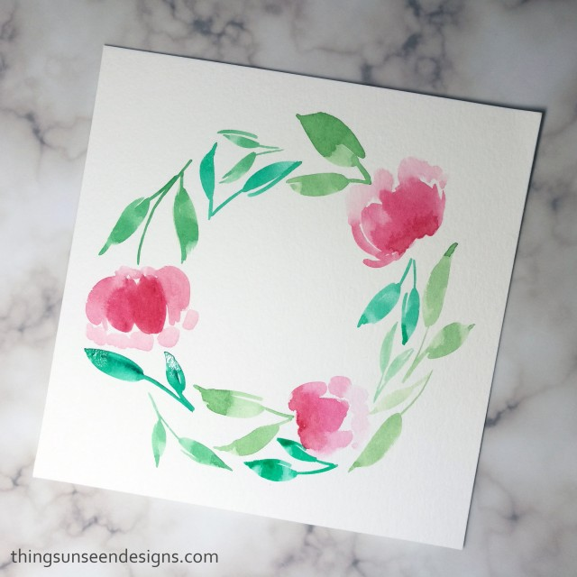 watercolor wreath bright pink red flowers painting florals loose watercolorwithTUD