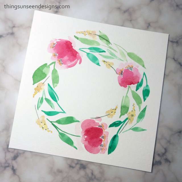 watercolor wreath bright pink red flowers painting florals loose watercolorwithTUD leaves green