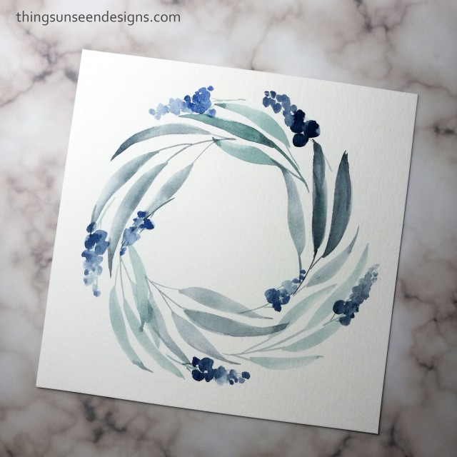 grey tones wreath leaves watercolor painting loose florals